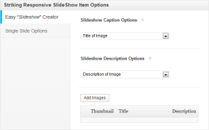 Options can be set for each slider item